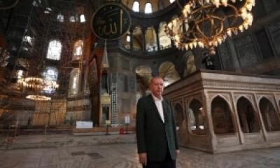 Jum'at 24 Juli 2020; Sholat Jum'at Perdana di Masjid Hagia Sophia Setelah 86 Tahun Dijadikan Museum.
